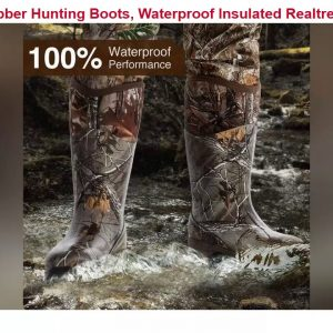 TIDEWE Rubber Hunting Boots, Waterproof Insulated Realtree Xtra Camo Warm Rubber Boots with 6mm Neo