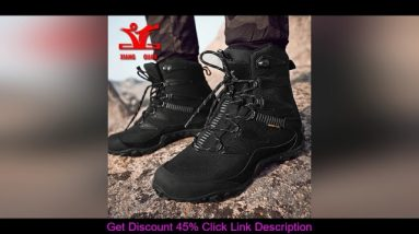 Top XIANGGUAN Winter Men Hiking Shoes Wool Lining Snow Boots Outdoor Hunting Boots Waterproof Mount